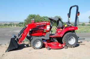 massey ferguson gc1705 compact tractor with loader and mower deck